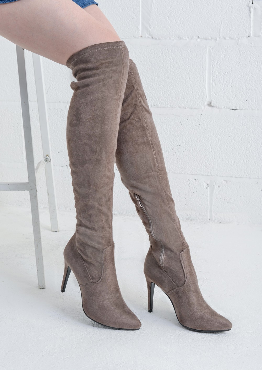 the knee high faux suede stiletto boots taupe