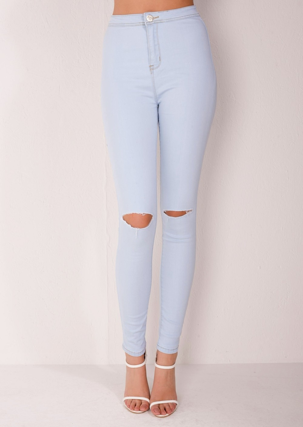 High Waisted Ripped Knee Super Skinny Tube Jeans Sky Blue