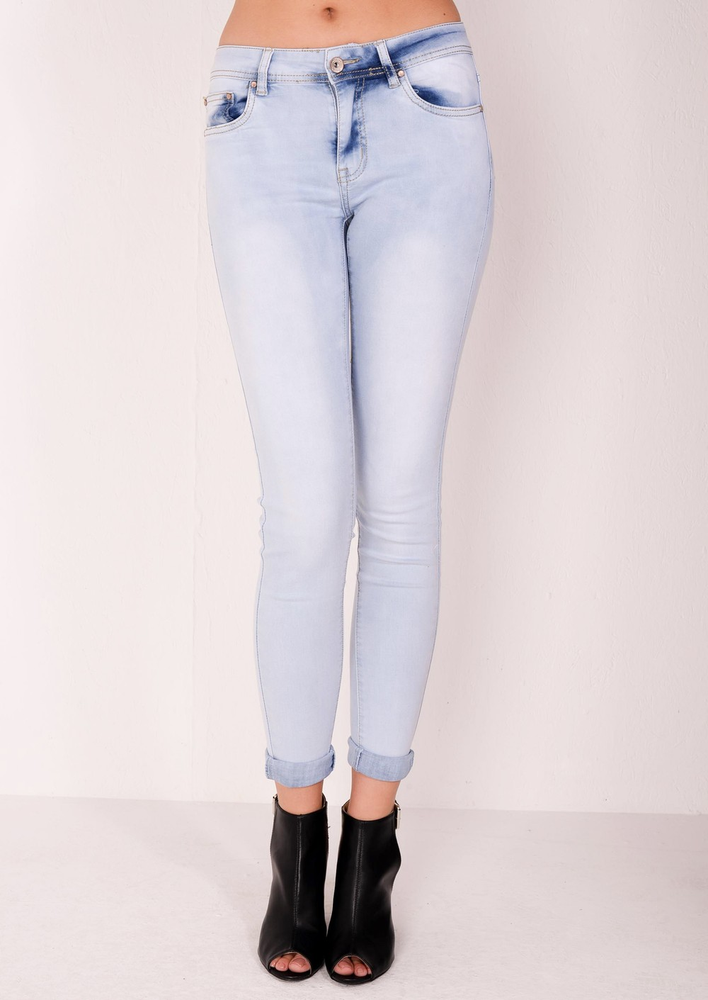 Mid Rise Super Skinny Faded Jeans Pale Blue