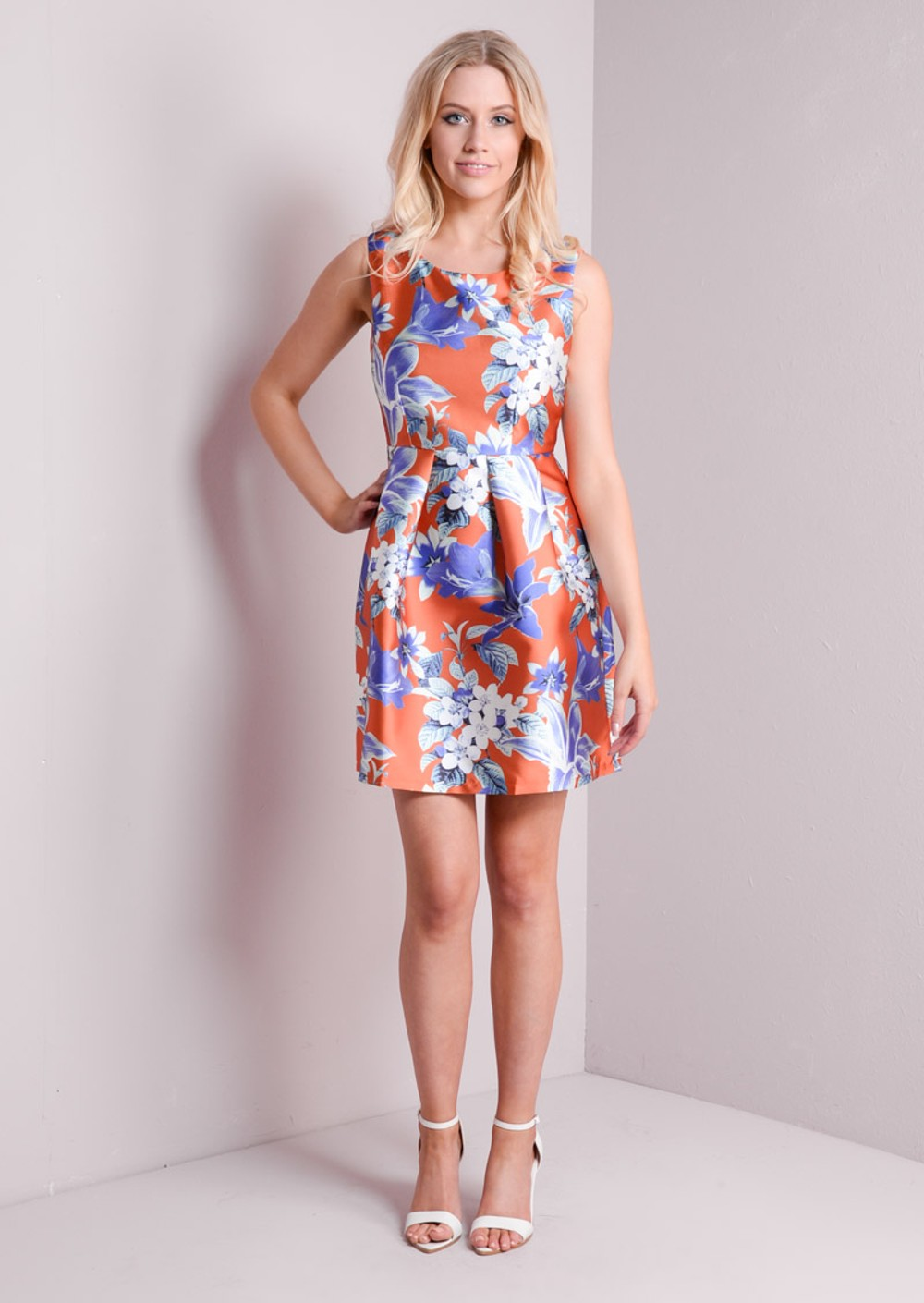 orange and blue floral dresses
