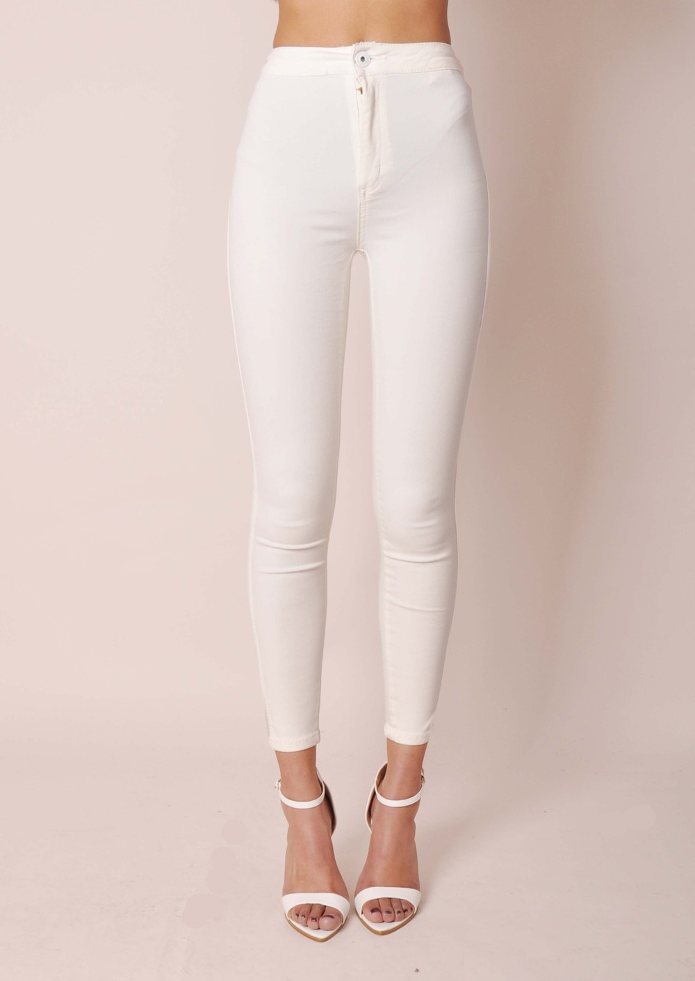 High Waisted Knee Ripped Super Skinny Tube Jeans White