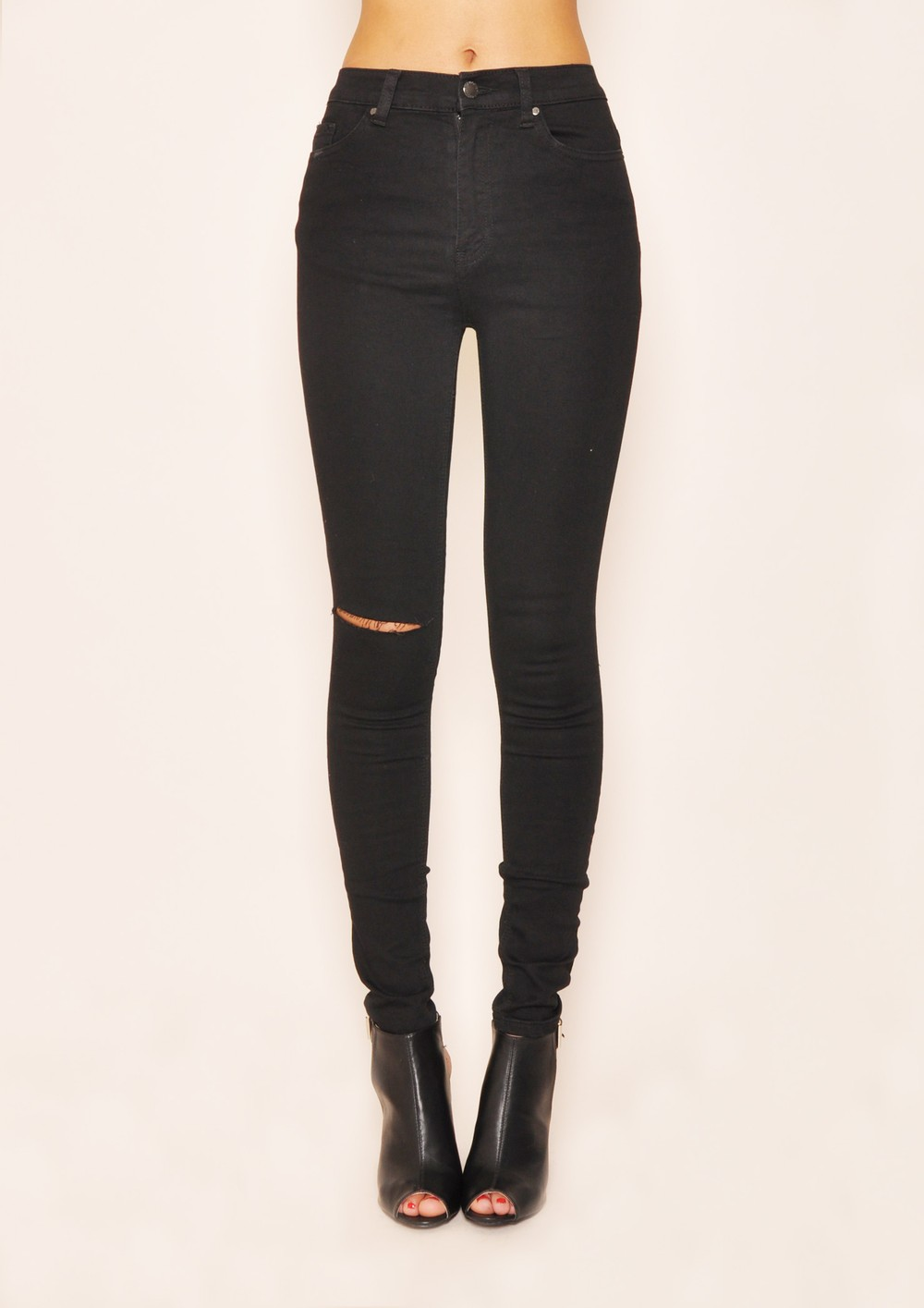 Black High Waisted Ripped Jeans - MX Jeans