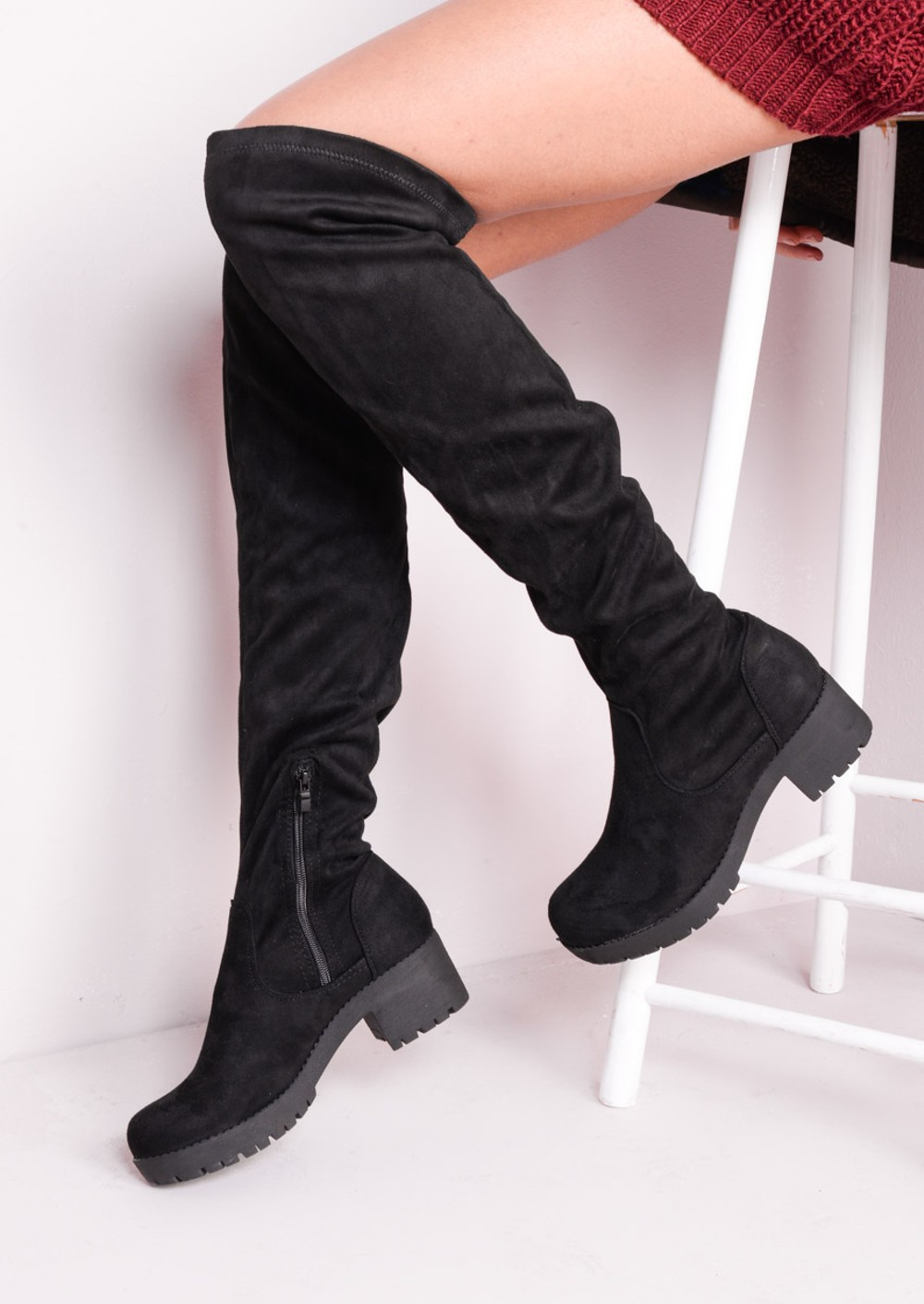 knee high faux suede flat chunky boots black