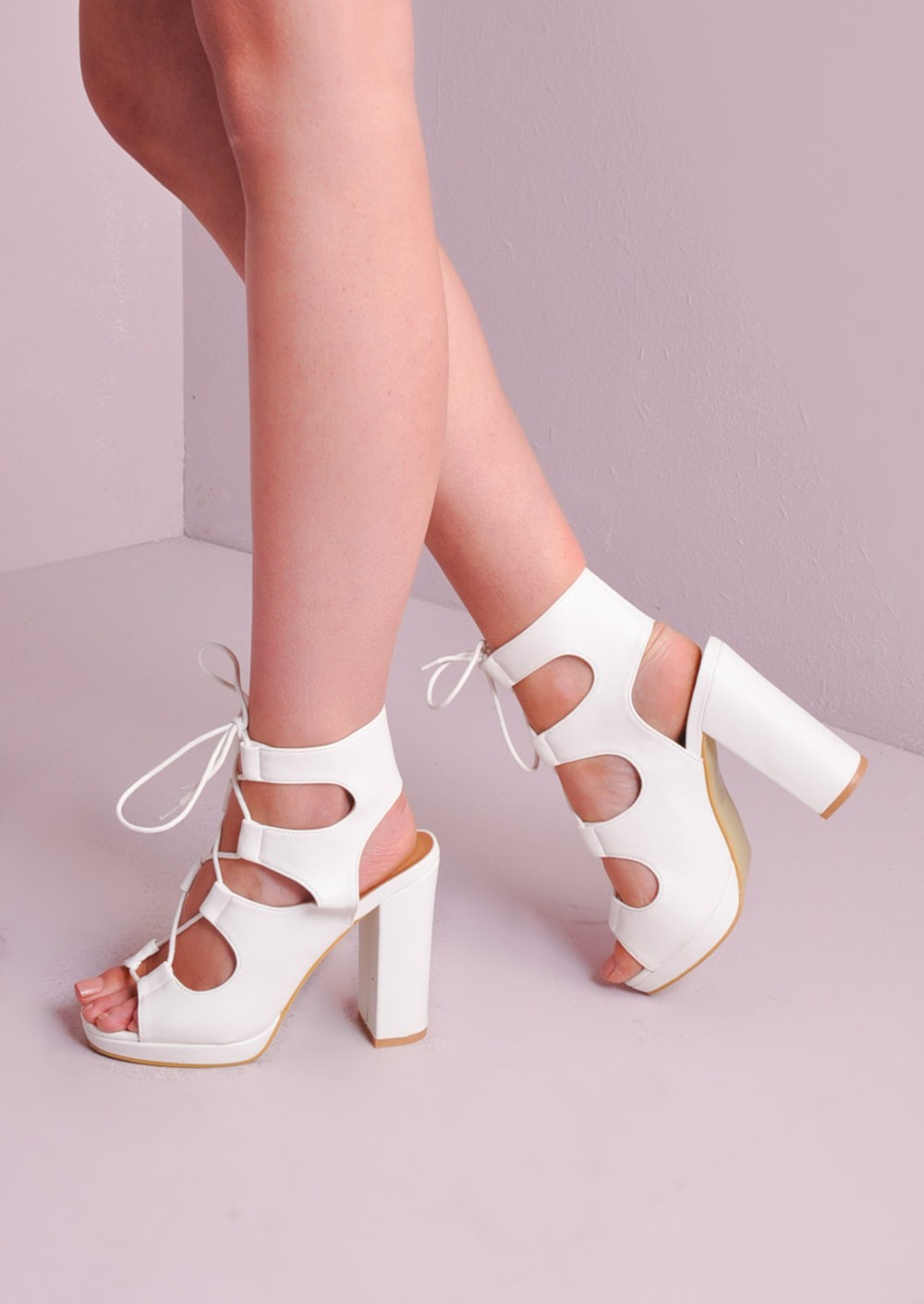 Lace Up Gladiator Block Platform Heel Sandals Shoes White