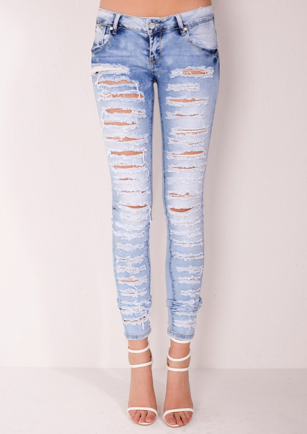Mid Rise Multi Ripped Skinny Denim Jeans Light Blue