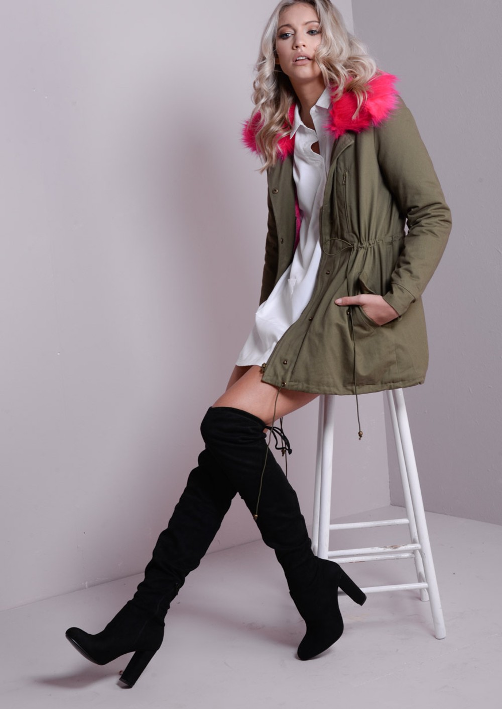 Neon Pink Detachable Faux Fur Collar Fully Lined Parka Coat Khaki