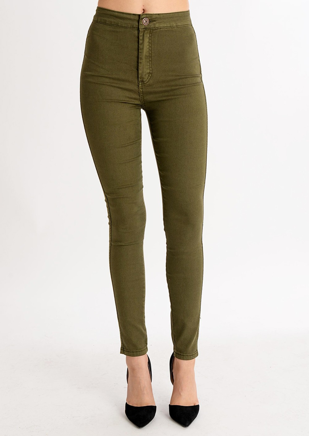 High Waisted Super Skinny Jeans Khaki