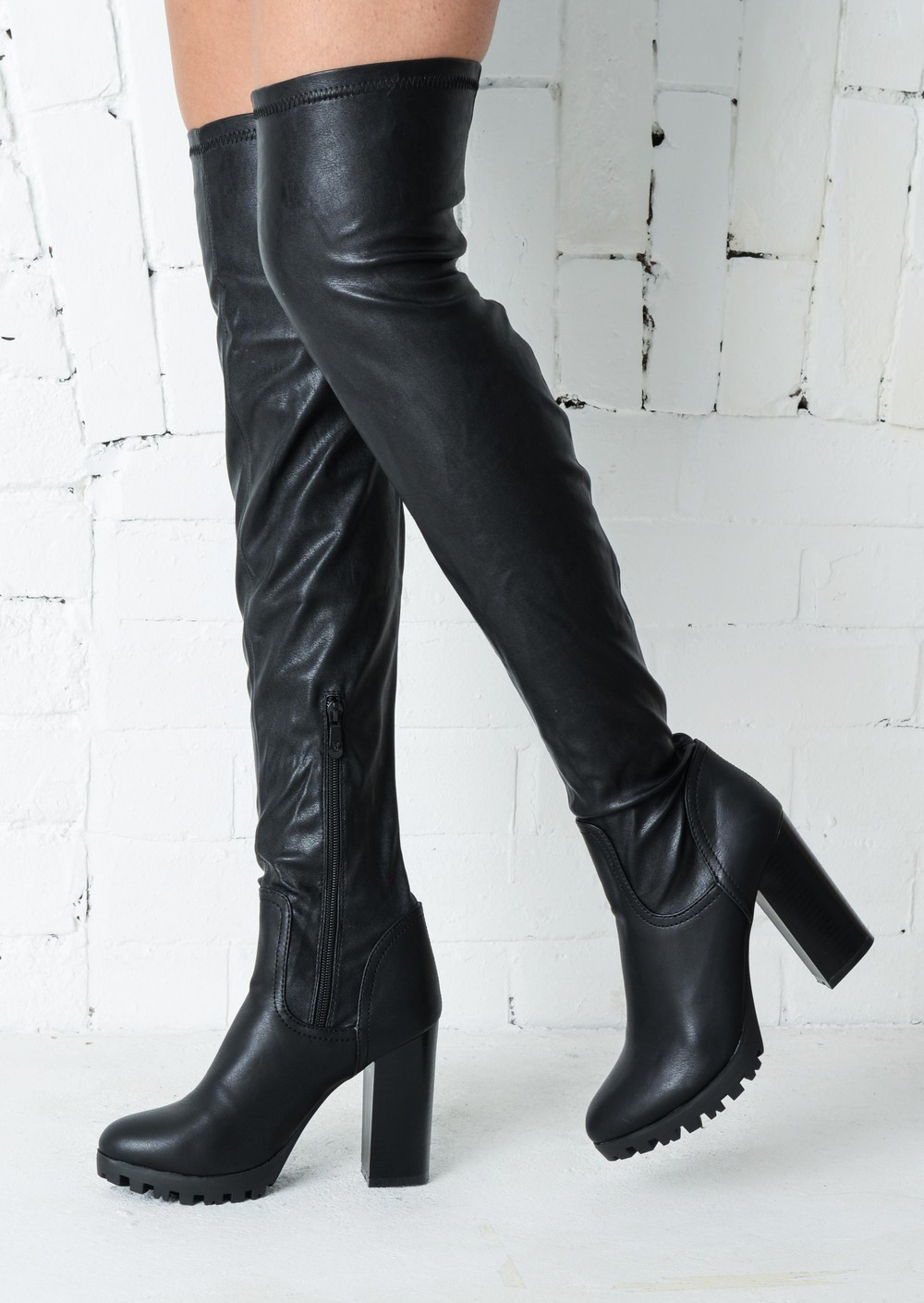 the knee thigh high cleated sole faux leather boots black