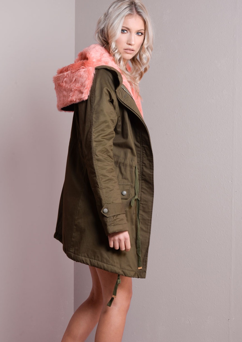 Pink Fully Fleeced Military Fur Hooded Parka Coat Khaki Green