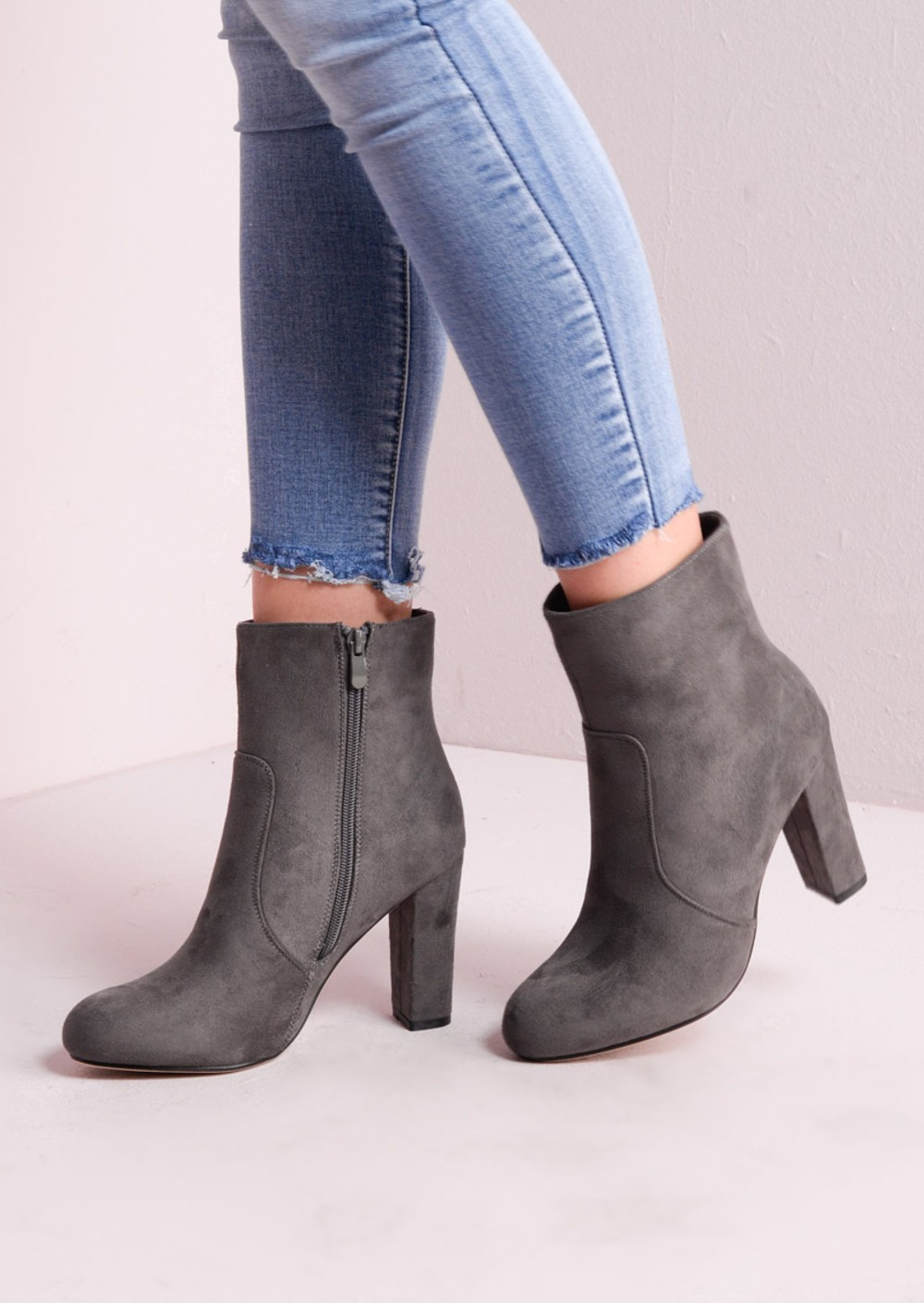 zip suede block heel ankle boots grey