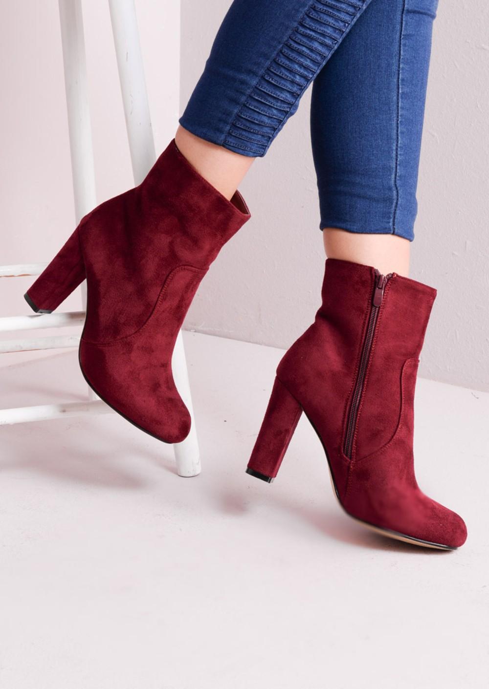 zip suede block heel ankle boots burgundy