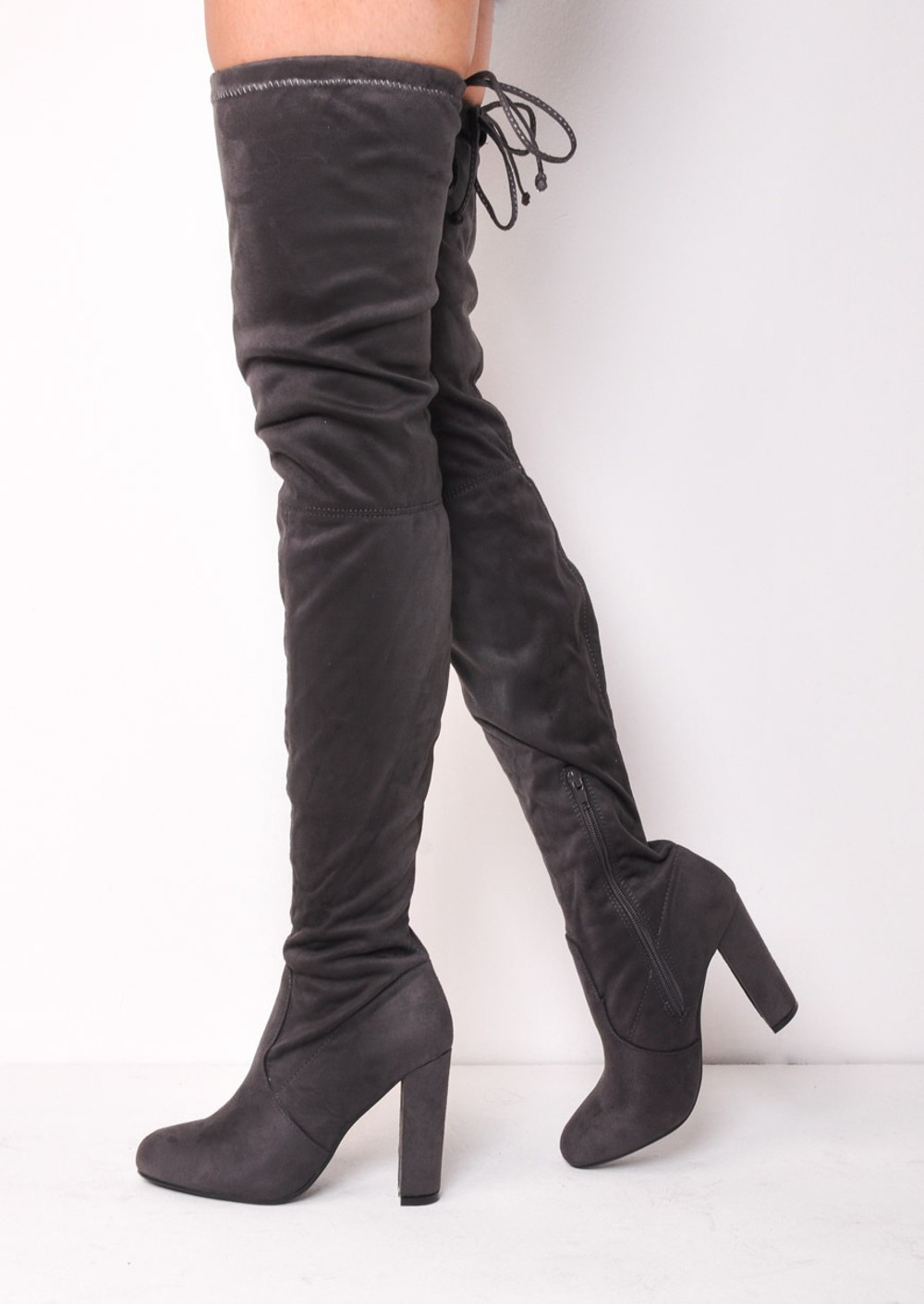 thigh high block heel faux suede tie back boots