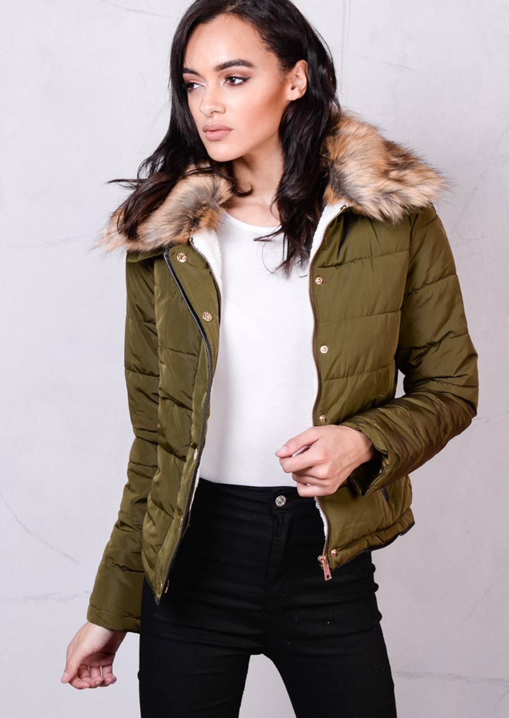 Brown Faux Fur Collar Quilted Fleece Padded Puffer Jacket