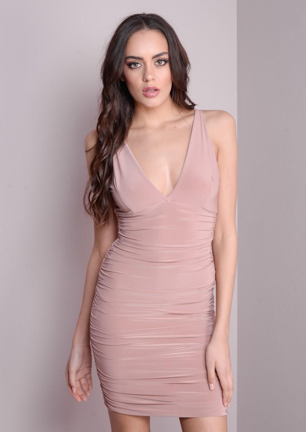 Deep V-Neck Flattering Bodycon Dress Nude