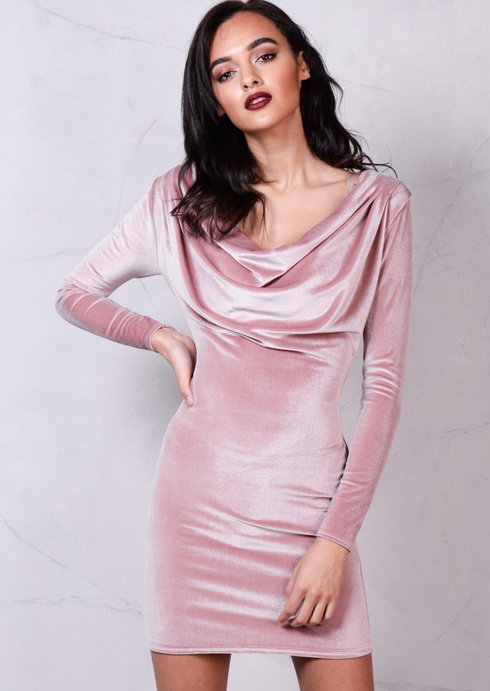 Full Sleeve Cowl Neck Velvet Bodycon Dress Dusty Pink