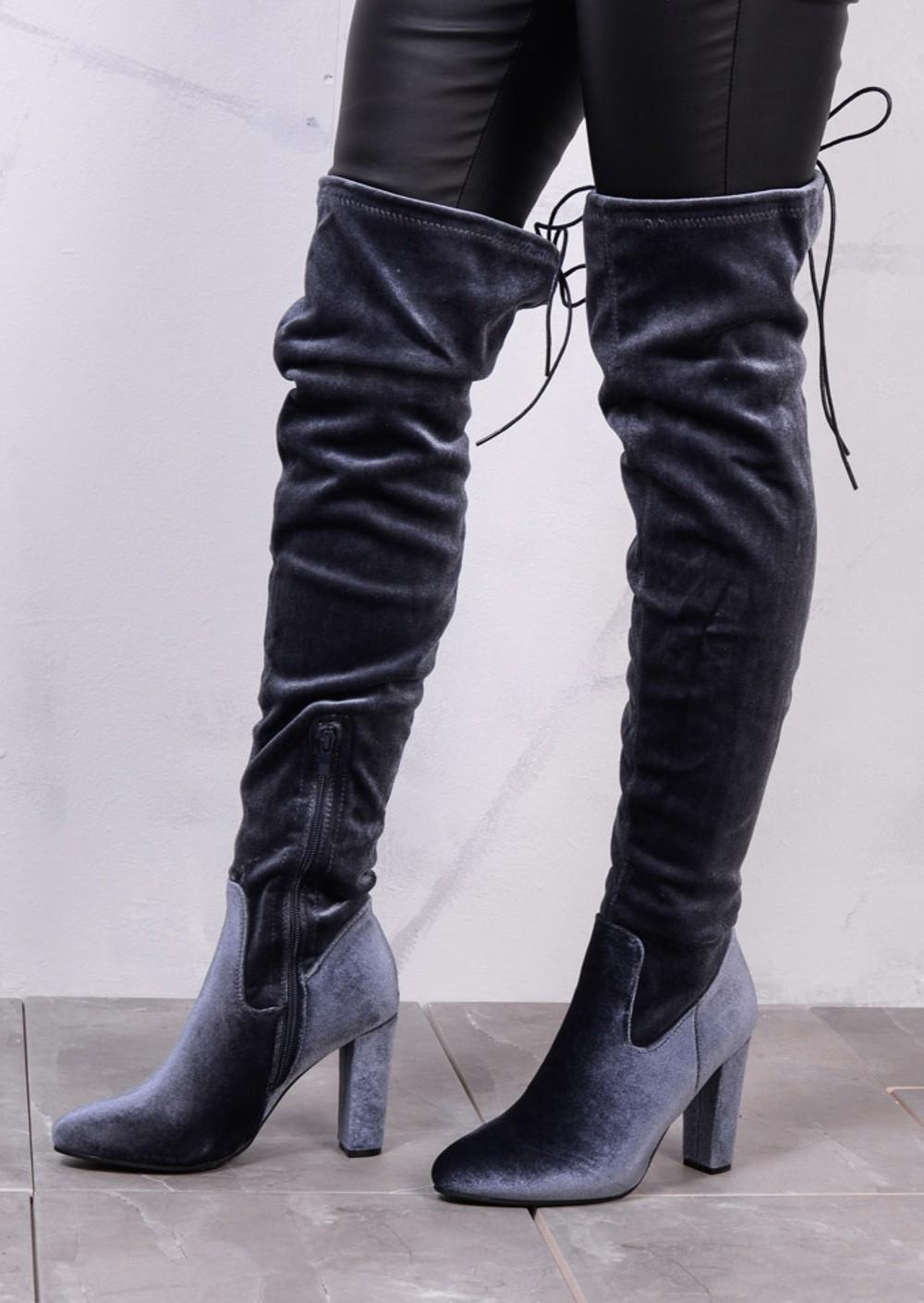 high the knee tie back boots velvet grey