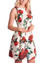 50s Rose Print Shift Prom Dress Cream