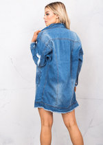 90s Oversized Longline Ripped Detail Boyfriend Denim Jacket Vintage Blue
