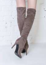 Over The Knee Thigh High Long Faux Suede Stiletto Boots Taupe