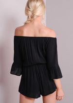 Bardot Off The Shoulder Playsuit With Frill Sleeve Black