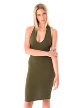 Celine Halterneck Bodycon Cross Back Dress Khaki