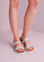 Cleated Diamante Strapped Sandals Silver