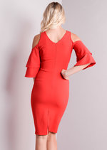 Cold Shoulder Bodycon Midi Dress With Frilled Sleeves Red