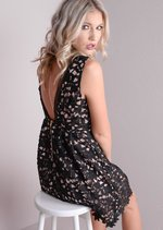 Crochet Overlay Lace Party Skater Dress Black