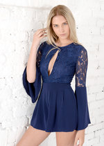 Marnie Seventies Boho Lace Insert Playsuit Blue