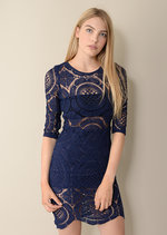 Cersie 3/4 Sleeve Blue Lace Dress