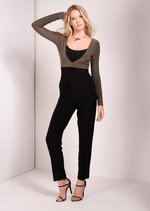 kakhi long sleeve jumpsuit