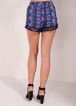 Cora Tassel Trim Shorts Blue