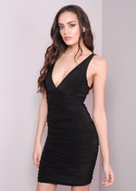 Deep V-Neck Flattering Bodycon Dress Black