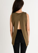 Enya Basic Open Back Top Khaki