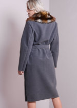 Faux Fur Collar Oversized Longline Coat Grey