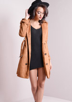 Faux Suede Double Breasted Trench Coat Camel