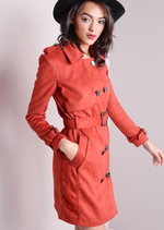Faux Suede Double Breasted Trench Coat Rust