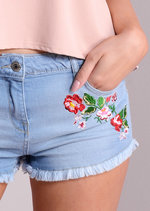 Floral Embroidered Freyed Denim Shorts Light Blue
