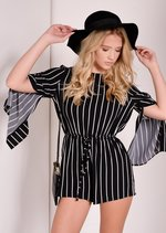 Fraya Black Stripe Seventies Boho Split Sleeve Playsuit