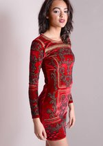 Full Sleeve Baroque Embellished Velvet Bodycon Dress Red