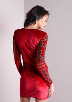 Full Sleeve Baroque Embellished Velvet Dress Red