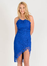 Gema Asymmetric Lace Midi Dress Blue