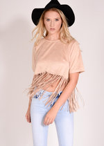 Havana Faux Suede Fringed Top