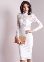 High Neck Lace Insert Mesh Bodycon Dress White