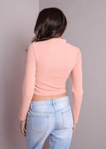 High Neck Ribbed Crop Top Pink