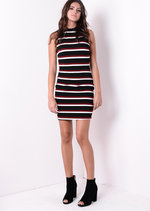 Horizontal Black & Wine Stripe Bodycon High Neck Dress