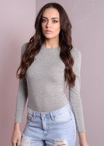 Jersey Long Sleeve Bodysuit Grey