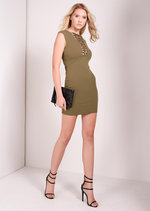 Kaisha Khaki Lace Up Bodycon Dress