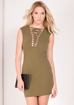 Kaisha Khaki Eyelet Lace Up Bodycon Dress
