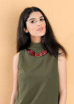 Katrina High Neck Shift Dress Khaki